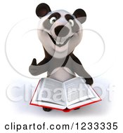 Clipart Of A 3d Panda Holding A Thumb Up And Reading A Book Royalty Free Illustration