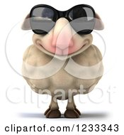 Clipart Of A 3d Happy Sheep Wearing Sunglasses Royalty Free Illustration