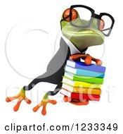 Clipart Of A 3d Bespectacled Business Springer Frog Jumping With A Stack Of Books 2 Royalty Free Illustration