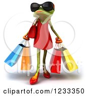 Clipart Of A 3d Female Springer Frog Wearing Sunglasses And Carrying Shopping Bags Royalty Free Illustration