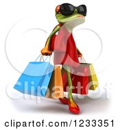 3d Female Springer Frog Wearing Sunglasses And Carrying Shopping Bags 2