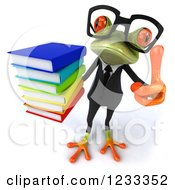 Clipart Of A 3d Bespectacled Business Springer Frog Holding A Thumb Up And A Stack Of Books Royalty Free Illustration