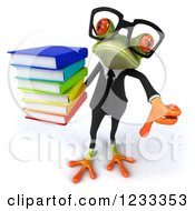 Clipart Of A 3d Bespectacled Business Springer Frog Holding A Thumb Down And A Stack Of Books Royalty Free Illustration
