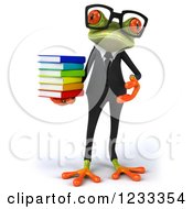 Clipart Of A 3d Bespectacled Business Springer Frog With A Stack Of Books Royalty Free Illustration