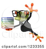 Clipart Of A 3d Bespectacled Business Springer Frog Jumping With A Stack Of Books Royalty Free Illustration
