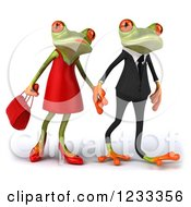 Clipart Of A 3d Springer Frog Couple Holding Hands 3 Royalty Free Illustration