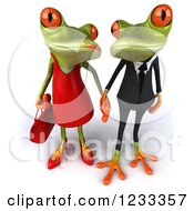 Clipart Of A 3d Springer Frog Couple Holding Hands 4 Royalty Free Illustration