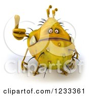 Clipart Of A 3d Yellow Germ Monster Holding A Thumb Up 2 Royalty Free Illustration
