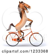 Clipart Of A 3d Happy Horse Riding A Bicycle Royalty Free Illustration
