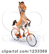 Clipart Of A 3d Happy Horse Riding A Bicycle 2 Royalty Free Illustration