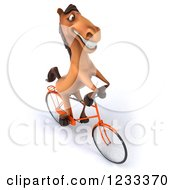 Clipart Of A 3d Happy Horse Riding A Bicycle 3 Royalty Free Illustration