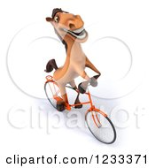 Clipart Of A 3d Happy Horse Riding A Bicycle 4 Royalty Free Illustration