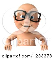 3d Caucasian Baby Boy Wearing Glasses Over A Sign
