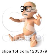 Clipart Of A 3d Caucasian Baby Boy Wearing Glasses And Sitting Royalty Free Illustration