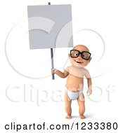 3d Caucasian Baby Boy Wearing Glasses And Holding A Sign