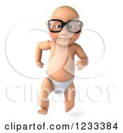 Clipart Of A 3d Caucasian Baby Boy Wearing Glasses And Running Royalty Free Illustration