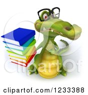 Clipart Of A 3d Bespectacled Crocodile With A Stack Of Books Royalty Free Illustration
