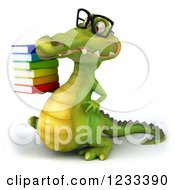 Clipart Of A 3d Bespectacled Crocodile With A Stack Of Books 2 Royalty Free Illustration