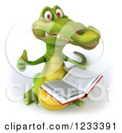 Clipart Of A 3d Crocodile Holding A Thumb Up And Reading A Book Royalty Free Illustration