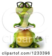 Clipart Of A 3d Bespectacled Crocodile Reading A Book Royalty Free Illustration