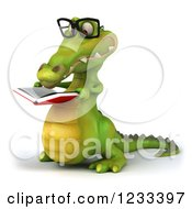 Clipart Of A 3d Bespectacled Crocodile Reading A Book 2 Royalty Free Illustration