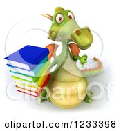 Clipart Of A 3d Green Dragon Holding A Thumb Down And Stack Of Books Royalty Free Illustration by Julos