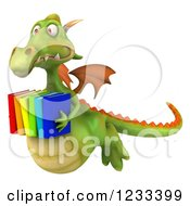 Clipart Of A 3d Green Dragon Flying With A Stack Of Books Royalty Free Illustration