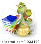 Clipart Of A 3d Green Dragon Holding A Thumb Up And Stack Of Books Royalty Free Illustration