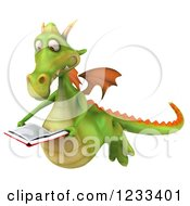 Clipart Of A 3d Green Dragon Flying And Reading A Book Royalty Free Illustration