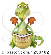 Clipart Of A 3d Green Dragon Reading A Book 2 Royalty Free Illustration by Julos
