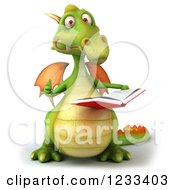 Clipart Of A 3d Green Dragon Holding A Thumb Up And Reading A Book Royalty Free Illustration