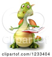 Clipart Of A 3d Green Dragon Presenting And Reading A Book Royalty Free Illustration