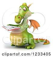 Clipart Of A 3d Green Dragon Reading A Book Royalty Free Illustration