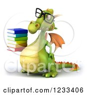 Clipart Of A 3d Bespectacled Green Dragon With A Stack Of Books 2 Royalty Free Illustration
