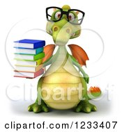 Clipart Of A 3d Bespectacled Green Dragon With A Stack Of Books Royalty Free Illustration
