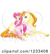 Pink Fairy Girl Cuddling With A Cute Yellow Unicorn