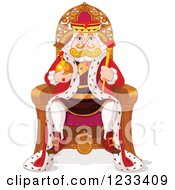 Clipart Of A Royal King Sitting On His Throne Royalty Free Vector Illustration by Pushkin