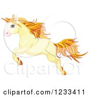 Clipart Of A Cute Yellow Unicorn Leaping Royalty Free Vector Illustration