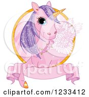 Clipart Of A Cute Pink And Purple Winged Unicorn And Banner Label Royalty Free Vector Illustration