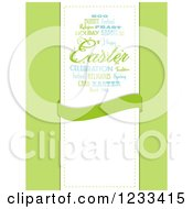 Clipart Of A Word Collage Easter Egg And Banner With Text Space Over Green Royalty Free Vector Illustration