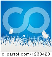 Clipart Of 3d White Paper Butterflies And Grasses Over Blue Royalty Free Vector Illustration