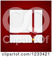 Clipart Of A Bow Pendant And Ribbon On A Valentine Card Over Red Royalty Free Vector Illustration
