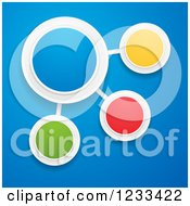 Clipart Of A 3d Colorful Bubble Infographic Network On Blue Royalty Free Vector Illustration