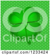 Clipart Of A Reflective Green Four Leaf Clover Over Polka Dots Royalty Free Vector Illustration by elaineitalia