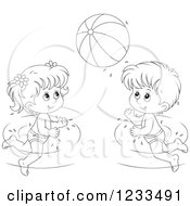 Clipart Of Happy Outlined Children Playing With A Beach Ball In A Swimming Pool Royalty Free Vector Illustration