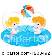 Clipart Of Happy White Children Playing With A Beach Ball In A Swimming Pool Royalty Free Vector Illustration