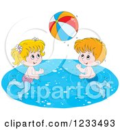 Clipart Of Happy Caucasian Children Playing With A Beach Ball In A Swimming Pool Royalty Free Vector Illustration