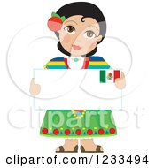 Clipart Of A Traditionally Dressed Mexican Girl Holding A Sign Royalty Free Vector Illustration