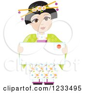 Traditionally Dressed Japanese Girl Holding An Envelope Or Sign