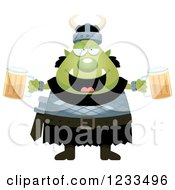 Clipart Of A Drunk Male Orc Holding Beers Royalty Free Vector Illustration by Cory Thoman
